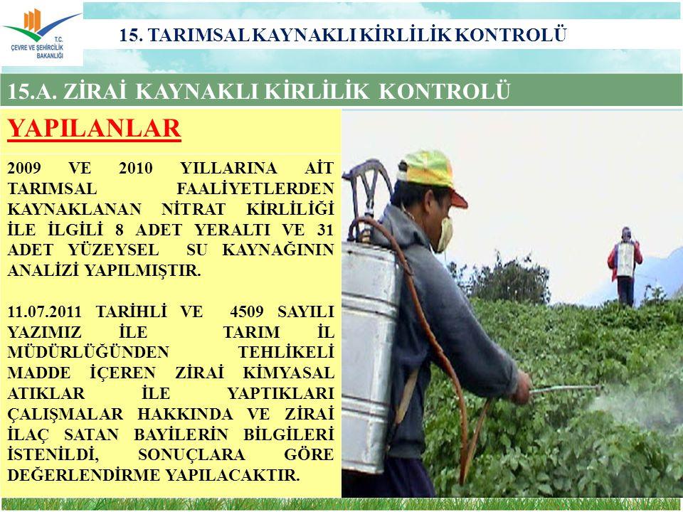 15. TARIMSAL KAYNAKLI KİRLİLİK KONTROLÜ 15.A. ZİRAİ KAYNAKLI KİRLİLİK KONTROLÜ YAPILANLAR 2009 VE 2010 YILLARINA AİT TARIMSAL FAALİYETLERDEN KAYNAKLAN