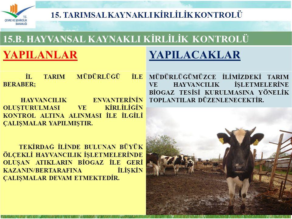 15.TARIMSAL KAYNAKLI KİRLİLİK KONTROLÜ 15.B.