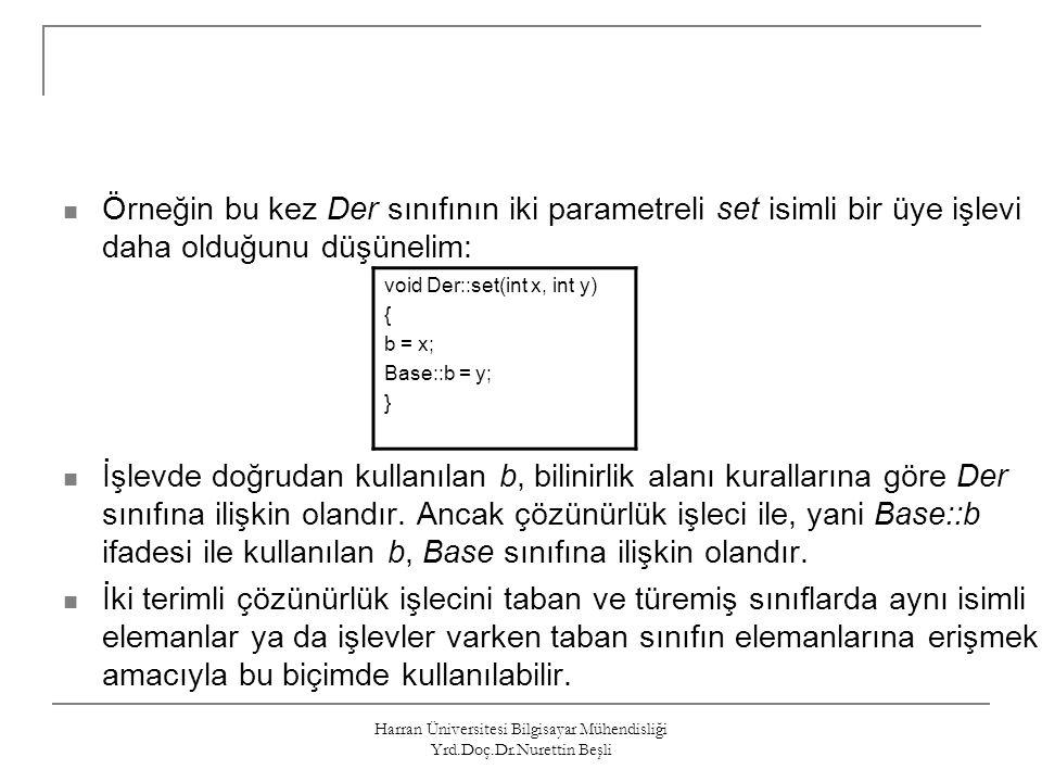 Harran Üniversitesi Bilgisayar Mühendisliği Yrd.Doç.Dr.Nurettin Beşli class Base{ private: int k; public: int i; void f(); }; class Derived : private Base{ // All members of Base are private now int m; public: using Base::f; // f() is public again, i is still private void fb1(); }; int main(){ Base b; Derived d; b.i=5; // OK public in Base d.i=0; // ERROR private inheritance b.f(); // OK d.f(); // OK return 0; };