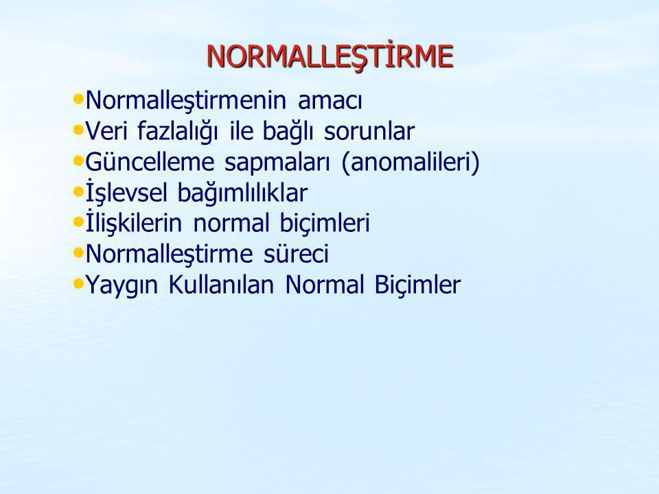 NORMALLEŞTİRME Normalleştirmenin amacı Veri fazlalığı ile bağlı sorunlar Güncelleme sapmaları (anomalileri) İşlevsel bağımlılıklar İlişkilerin normal