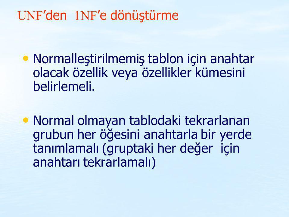 UNF 'den 1NF 'e dönüştürme Normalleştirilmemiş tablon için anahtar olacak özellik veya özellikler kümesini belirlemeli. Normal olmayan tablodaki tekra