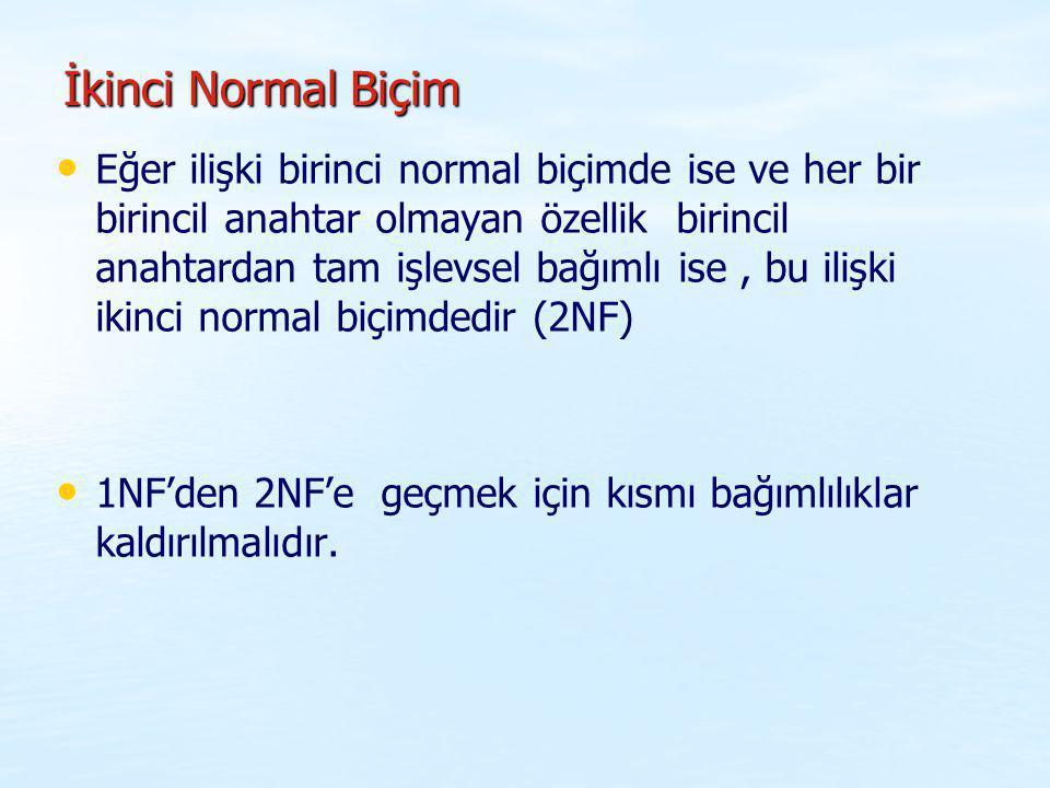 İkinci Normal Biçim Eğer ilişki birinci normal biçimde ise ve her bir birincil anahtar olmayan özellik birincil anahtardan tam işlevsel bağımlı ise, b