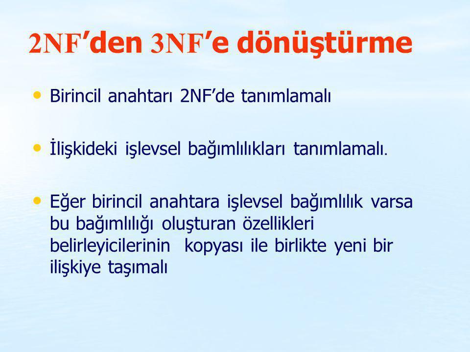 2NF 'den 3NF 'e dönüştürme Birincil anahtarı 2NF'de tanımlamalı İlişkideki işlevsel bağımlılıkları tanımlamalı. Eğer birincil anahtara işlevsel bağıml