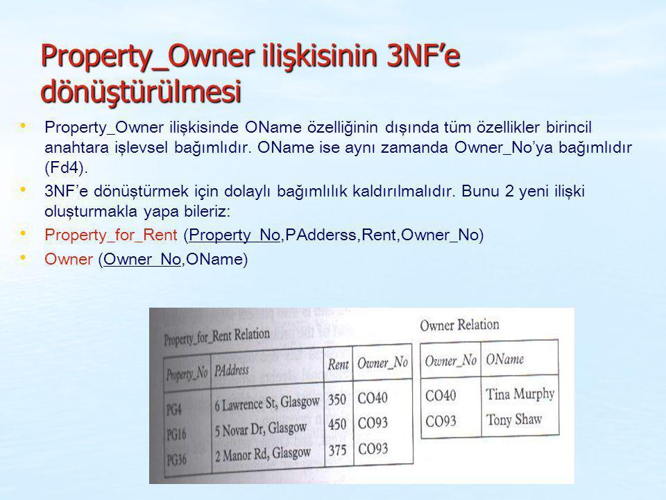 Property_Owner ilişkisinin 3NF'e dönüştürülmesi Property_Owner ilişkisinde OName özelliğinin dışında tüm özellikler birincil anahtara işlevsel bağımlı