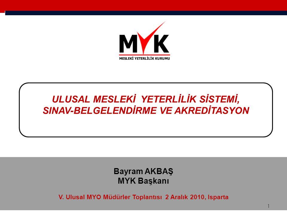  MYK tarafından onaylanarak UYÇ'ye yerleştirilen, bireyin sahip olması gereken bilgi, beceri ve yetkinlik ile ölçme ve değerlendirme kriterlerini içeren ayrıntılı dokümanlardır.