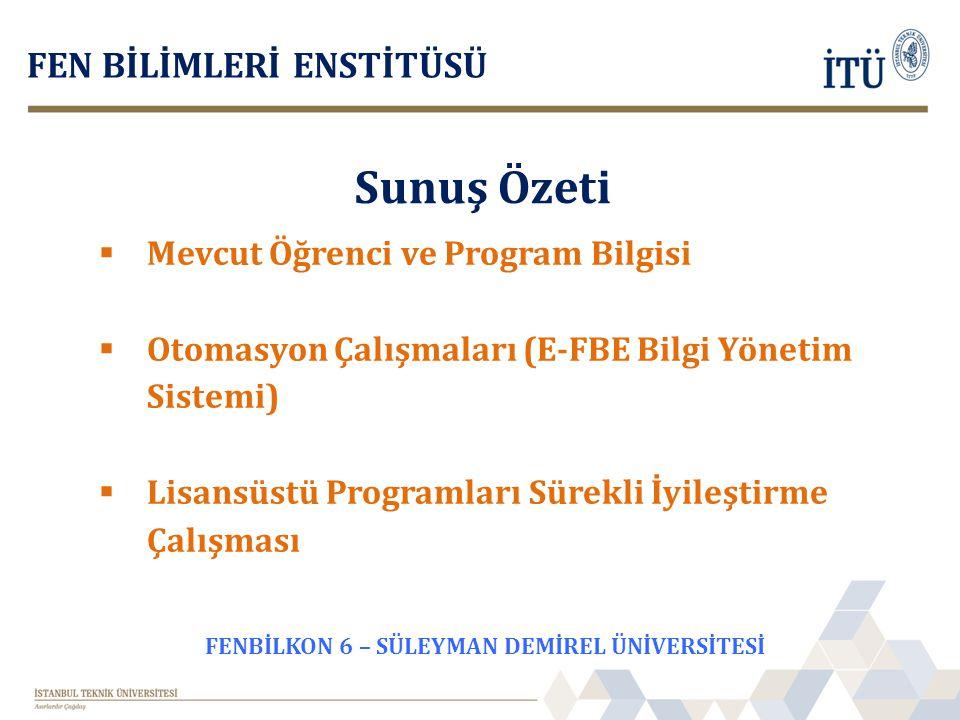Sunuş Özeti FEN BİLİMLERİ ENSTİTÜSÜ  Mevcut Öğrenci ve Program Bilgisi  Otomasyon Çalışmaları (E-FBE Bilgi Yönetim Sistemi)  Lisansüstü Programları