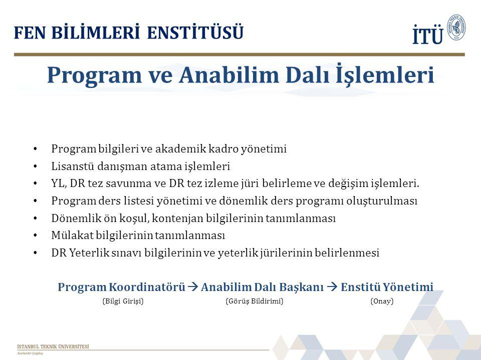 Program bilgileri ve akademik kadro yönetimi Lisanstü danışman atama işlemleri YL, DR tez savunma ve DR tez izleme jüri belirleme ve değişim işlemleri
