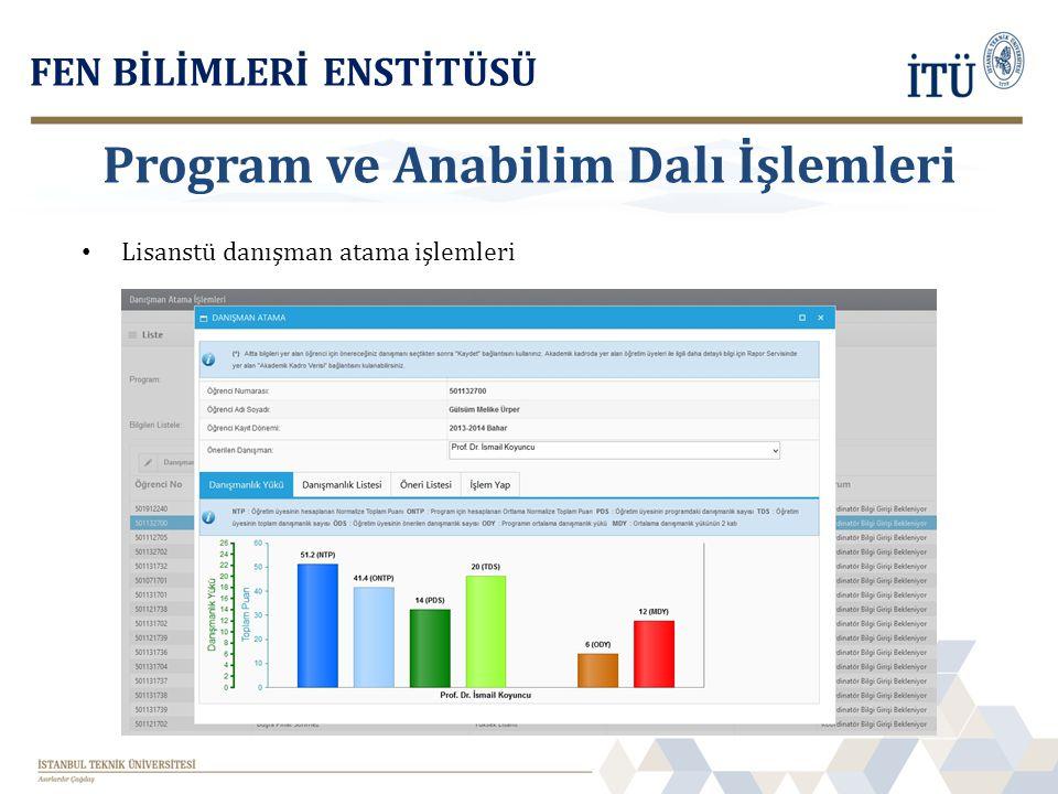 Lisanstü danışman atama işlemleri FEN BİLİMLERİ ENSTİTÜSÜ Program ve Anabilim Dalı İşlemleri