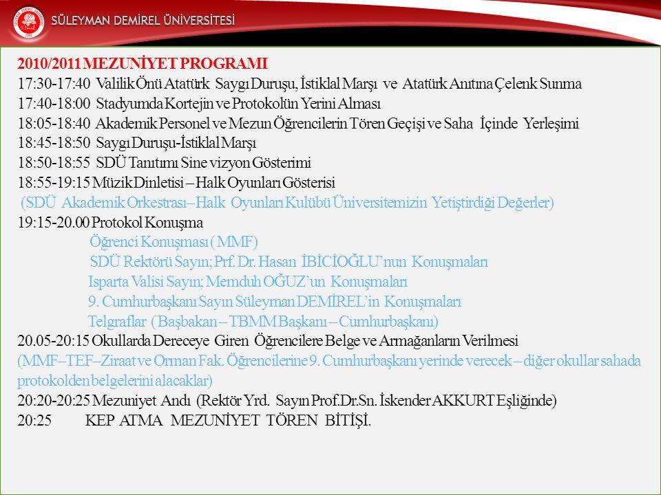 2010/2011 MEZUNİYET PROGRAMI 17:30-17:40 Valilik Önü Atatürk Saygı Duruşu, İstiklal Marşı ve Atatürk Anıtına Çelenk Sunma 17:40-18:00 Stadyumda Kortejin ve Protokolün Yerini Alması 18:05-18:40 Akademik Personel ve Mezun Öğrencilerin Tören Geçişi ve Saha İçinde Yerleşimi 18:45-18:50 Saygı Duruşu-İstiklal Marşı 18:50-18:55 SDÜ Tanıtımı Sine vizyon Gösterimi 18:55-19:15 Müzik Dinletisi – Halk Oyunları Gösterisi (SDÜ Akademik Orkestrası– Halk Oyunları Kulübü Üniversitemizin Yetiştirdiği Değerler) 19:15-20.00 Protokol Konuşma Öğrenci Konuşması ( MMF) SDÜ Rektörü Sayın; Prf.