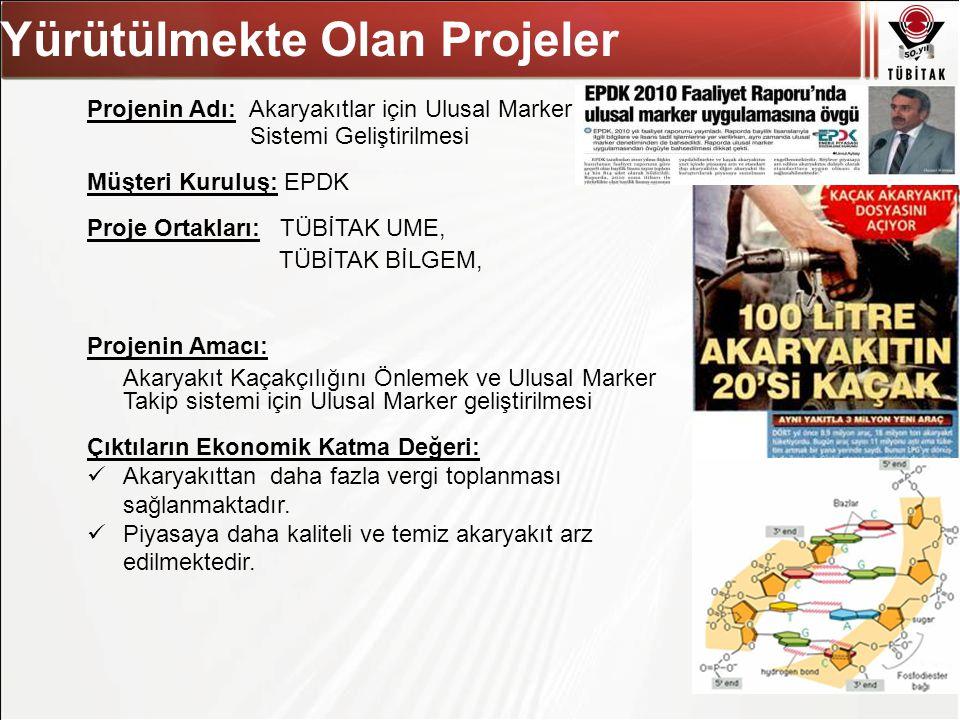 Asıl başlık stili için tıklatın Projenin Adı: Akaryakıtlar için Ulusal Marker Sistemi Geliştirilmesi Müşteri Kuruluş: EPDK Proje Ortakları: TÜBİTAK UM
