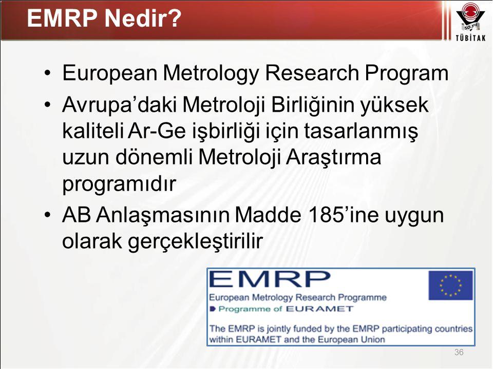 Asıl başlık stili için tıklatın European Metrology Research Program Avrupa'daki Metroloji Birliğinin yüksek kaliteli Ar-Ge işbirliği için tasarlanmış uzun dönemli Metroloji Araştırma programıdır AB Anlaşmasının Madde 185'ine uygun olarak gerçekleştirilir 36 EMRP Nedir