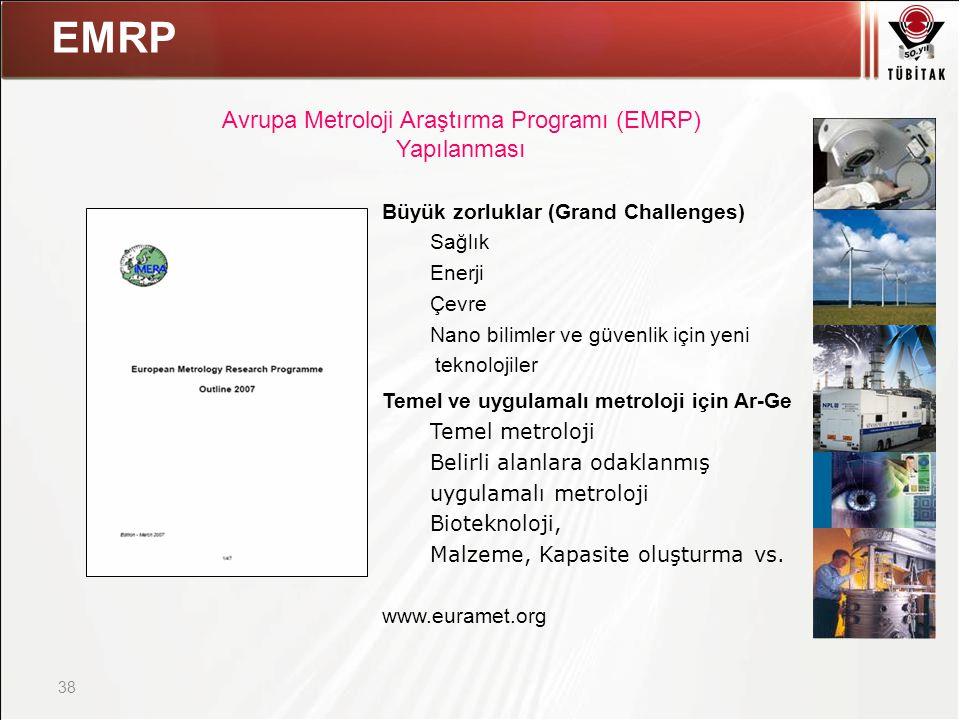 Asıl başlık stili için tıklatın 38 EMRP Büyük zorluklar (Grand Challenges) Sağlık Enerji Çevre Nano bilimler ve güvenlik için yeni teknolojiler Temel ve uygulamalı metroloji için Ar-Ge Temel metroloji Belirli alanlara odaklanmış uygulamalı metroloji Bioteknoloji, Malzeme, Kapasite oluşturma vs.