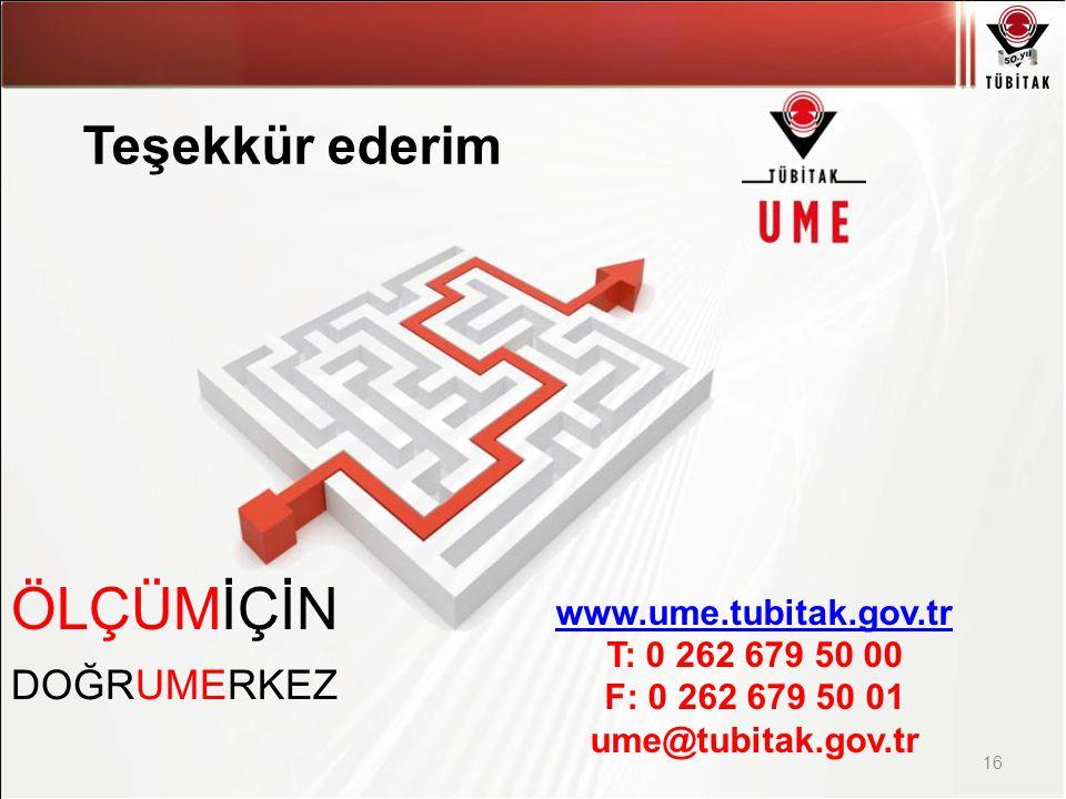 Asıl başlık stili için tıklatın 16 ÖLÇÜMİÇİN DOĞRUMERKEZ www.ume.tubitak.gov.tr T: 0 262 679 50 00 F: 0 262 679 50 01 ume@tubitak.gov.tr Teşekkür ederim