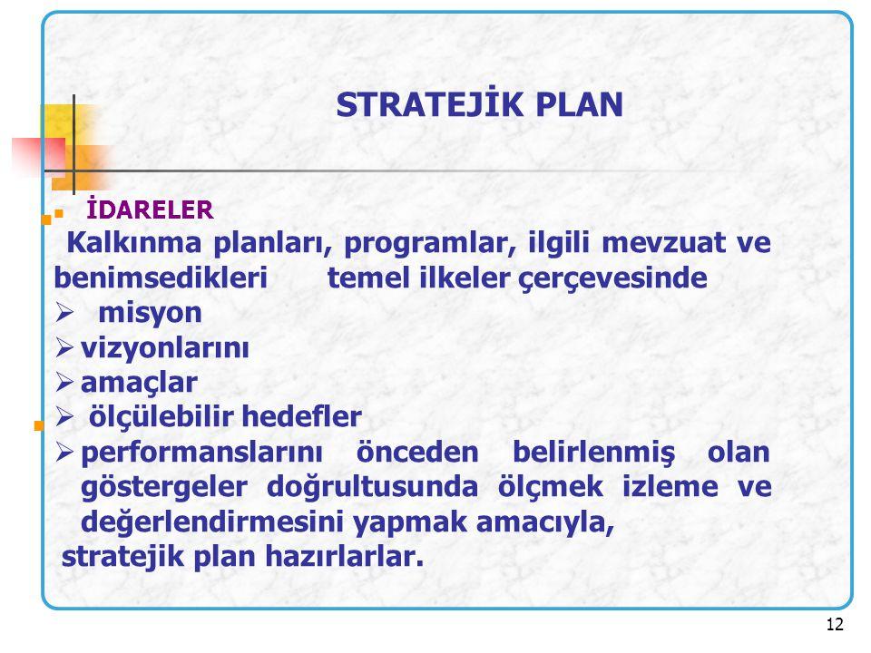 12 STRATEJİK PLAN İDARELER Kalkınma planları, programlar, ilgili mevzuat ve benimsedikleri temel ilkeler çerçevesinde  misyon  vizyonlarını  amaçla