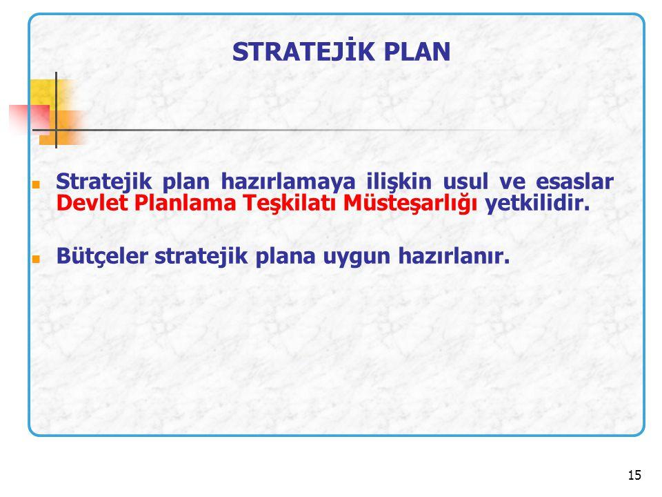 15 STRATEJİK PLAN Stratejik plan hazırlamaya ilişkin usul ve esaslar Devlet Planlama Teşkilatı Müsteşarlığı yetkilidir. Bütçeler stratejik plana uygun