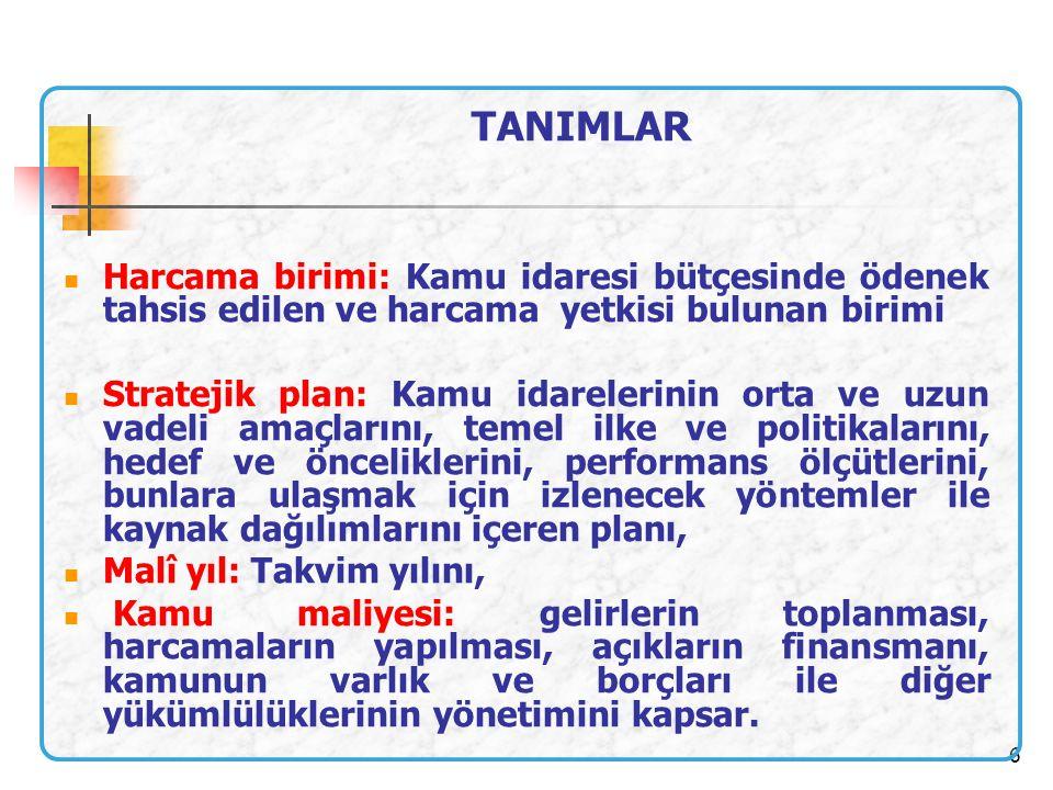 6 Harcama birimi: Kamu idaresi bütçesinde ödenek tahsis edilen ve harcama yetkisi bulunan birimi Stratejik plan: Kamu idarelerinin orta ve uzun vadeli
