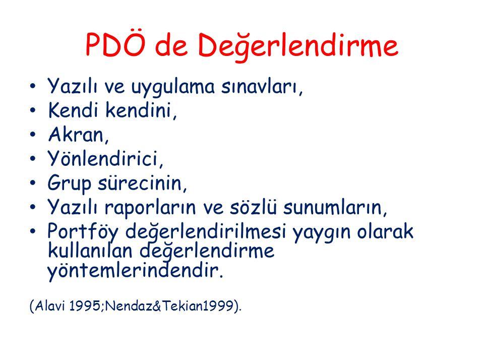 PDÖ de Değerlendirme Yazılı ve uygulama sınavları, Kendi kendini, Akran, Yönlendirici, Grup sürecinin, Yazılı raporların ve sözlü sunumların, Portföy