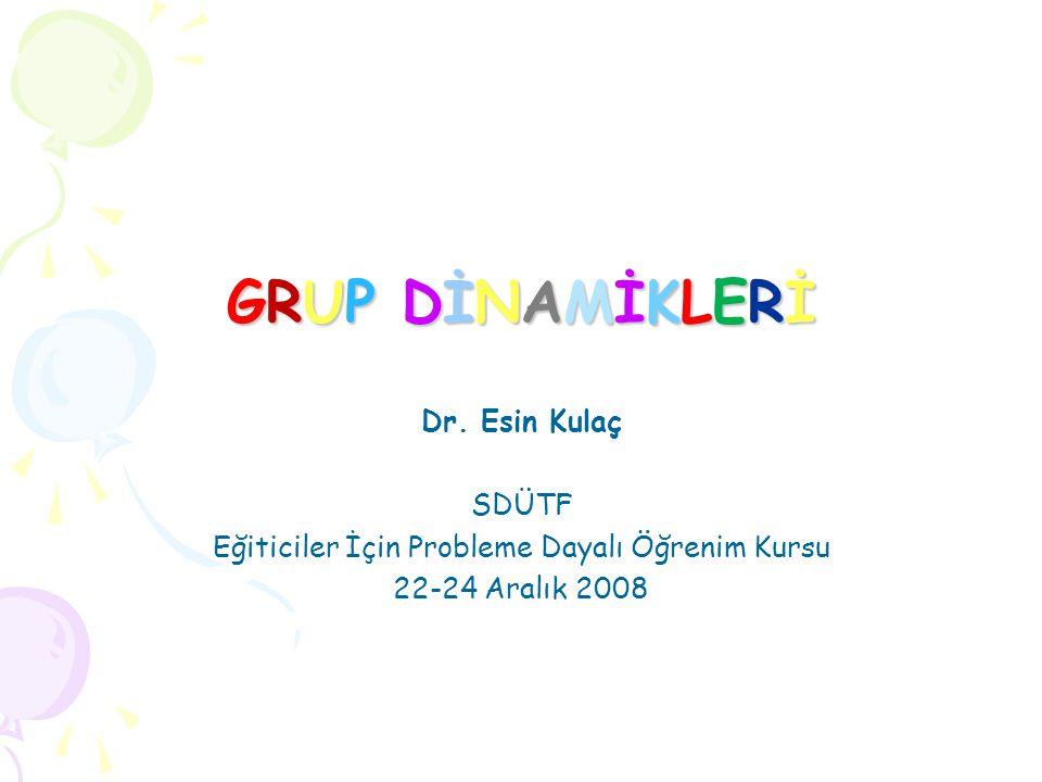 GRUP DİNAMİKLERİGRUP DİNAMİKLERİGRUP DİNAMİKLERİGRUP DİNAMİKLERİ Dr.