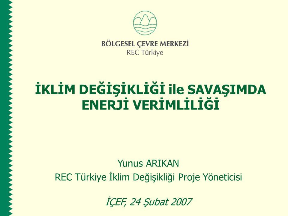 İKLİM DEĞİŞİKLİĞİ ile SAVAŞIMDA ENERJİ VERİMLİLİĞİ Yunus ARIKAN REC Türkiye İklim Değişikliği Proje Yöneticisi İÇEF, 24 Şubat 2007
