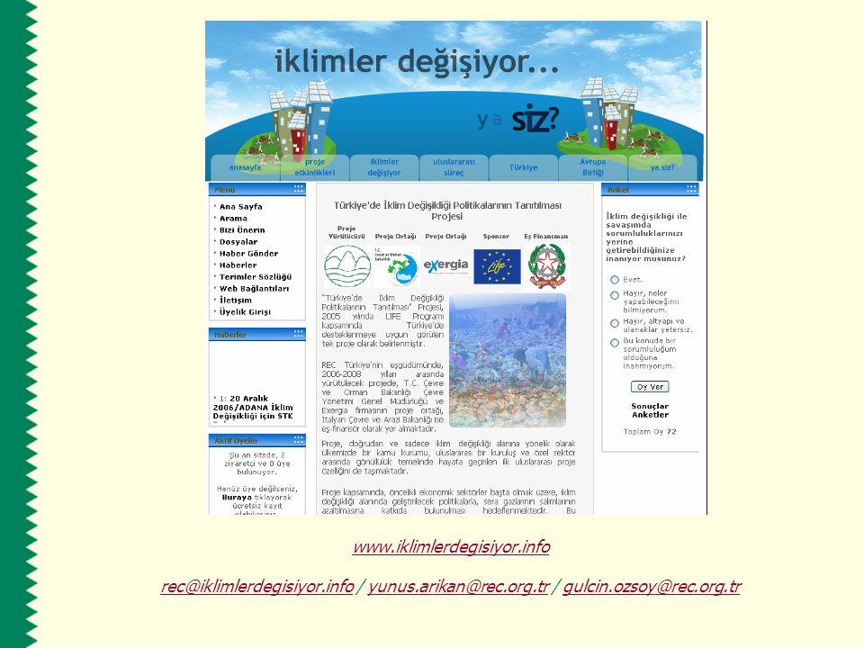 www.iklimlerdegisiyor.info rec@iklimlerdegisiyor.inforec@iklimlerdegisiyor.info / yunus.arikan@rec.org.tr / gulcin.ozsoy@rec.org.tryunus.arikan@rec.or