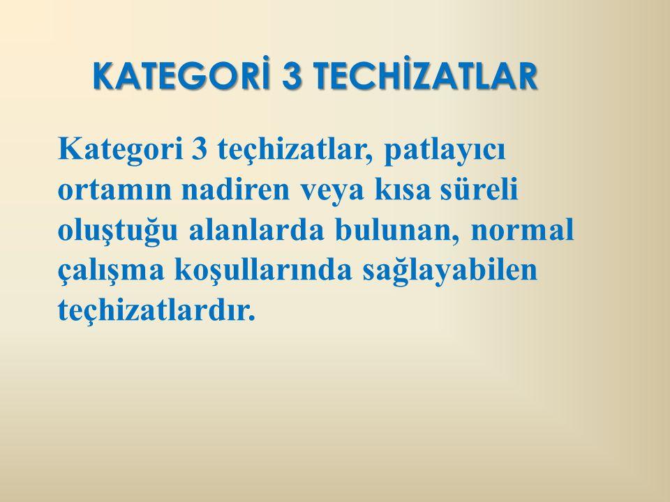KATEGORİ 3 TECHİZATLAR Kategori 3 teçhizatlar, patlayıcı ortamın nadiren veya kısa süreli oluştuğu alanlarda bulunan, normal çalışma koşullarında sağlayabilen teçhizatlardır.