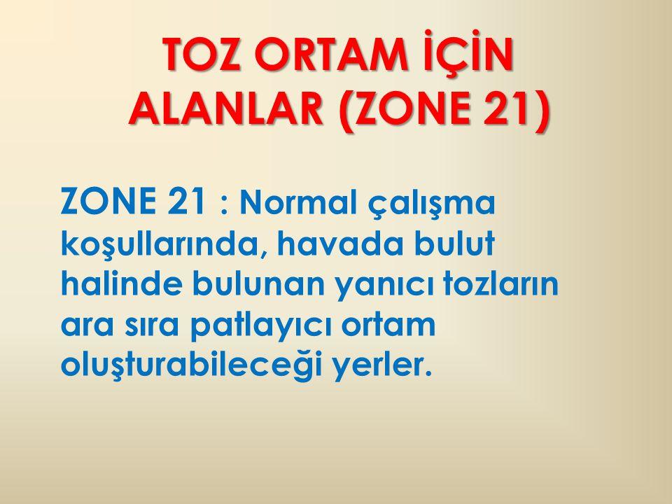 TOZ ORTAM İÇİN ALANLAR (ZONE 21) ZONE 21 : Normal çalışma koşullarında, havada bulut halinde bulunan yanıcı tozların ara sıra patlayıcı ortam oluşturabileceği yerler.