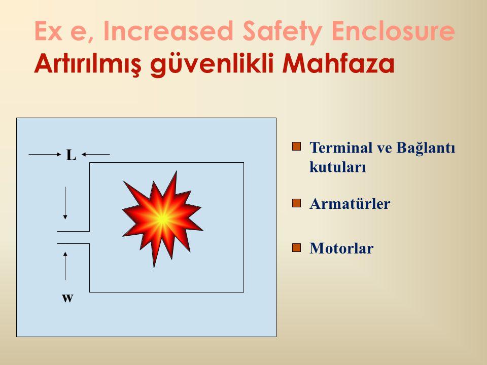Ex e, Increased Safety Enclosure Artırılmış güvenlikli Mahfaza w Terminal ve Bağlantı kutuları Armatürler Motorlar L