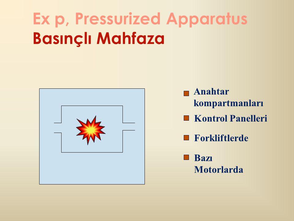 Ex p, Pressurized Apparatus Basınçlı Mahfaza Anahtar kompartmanları Kontrol Panelleri Forkliftlerde Bazı Motorlarda