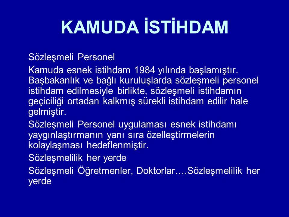 KAMUDA İSTİHDAM Sözleşmeli Personel Kamuda esnek istihdam 1984 yılında başlamıştır. Başbakanlık ve bağlı kuruluşlarda sözleşmeli personel istihdam edi
