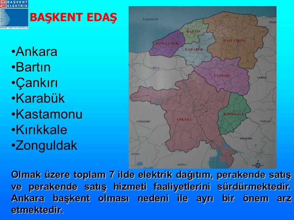 Ankara Bartın Çankırı Karabük Kastamonu Kırıkkale Zonguldak Olmak üzere toplam 7 ilde elektrik dağıtım, perakende satış ve perakende satış hizmeti faa