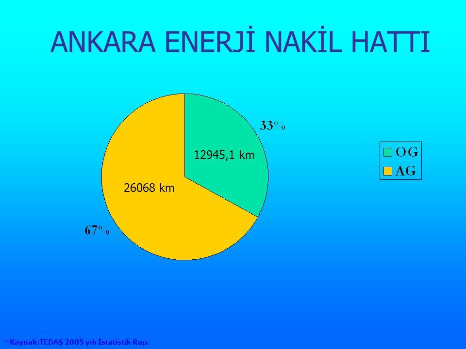 ANKARA ENERJİ NAKİL HATTI 12945,1 km 26068 km *Kaynak:TEDAŞ 2005 yılı İstatistik Rap.