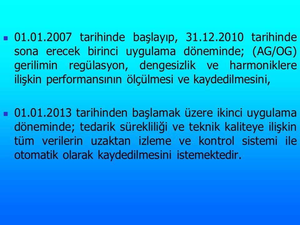 01.01.2007 tarihinde başlayıp, 31.12.2010 tarihinde sona erecek birinci uygulama döneminde; (AG/OG) gerilimin regülasyon, dengesizlik ve harmoniklere