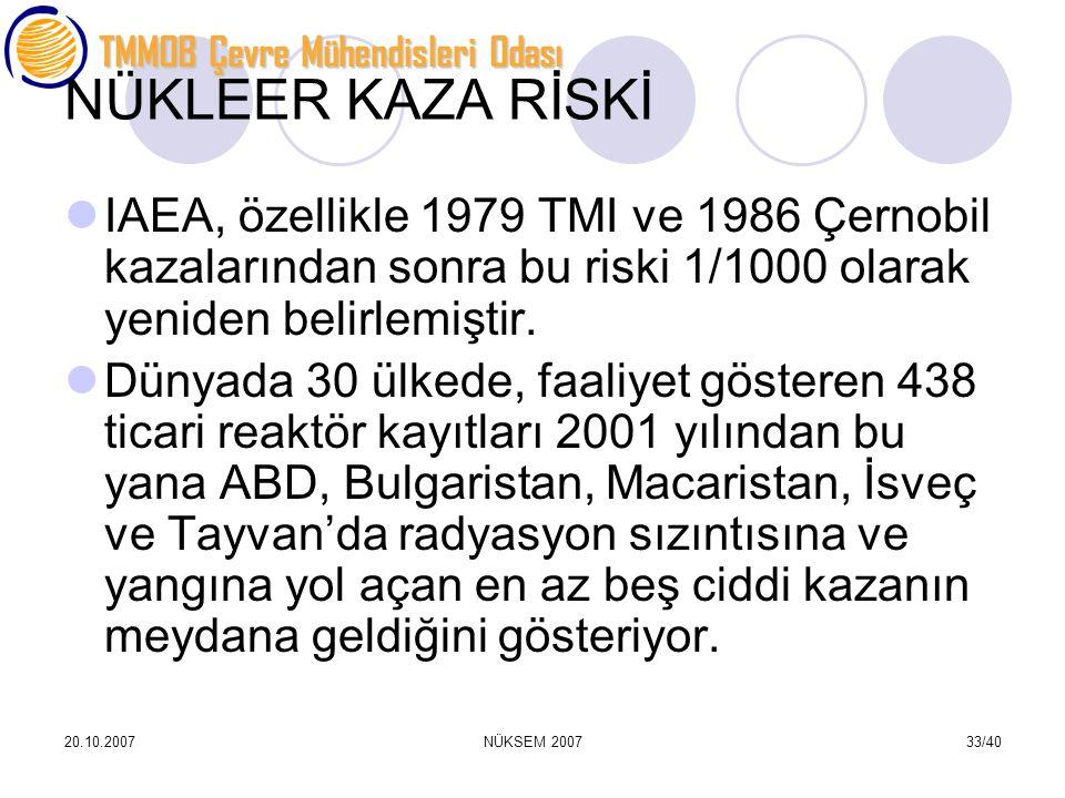 TMMOB Çevre Mühendisleri Odası 20.10.2007NÜKSEM 200733/40 NÜKLEER KAZA RİSKİ IAEA, özellikle 1979 TMI ve 1986 Çernobil kazalarından sonra bu riski 1/1