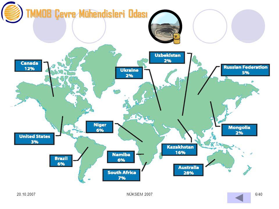 TMMOB Çevre Mühendisleri Odası 20.10.2007NÜKSEM 20076/40