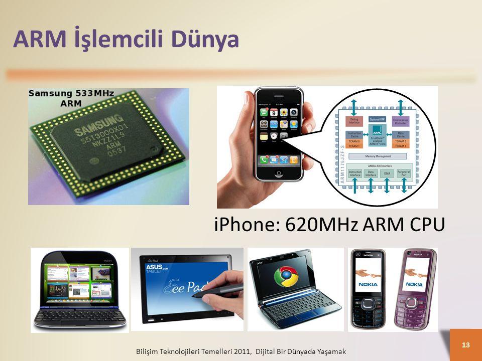 ARM İşlemcili Dünya Bilişim Teknolojileri Temelleri 2011, Dijital Bir Dünyada Yaşamak 13 iPhone: 620MHz ARM CPU