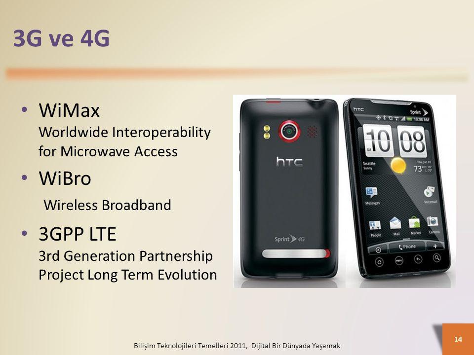 3G ve 4G Bilişim Teknolojileri Temelleri 2011, Dijital Bir Dünyada Yaşamak 14 WiMax Worldwide Interoperability for Microwave Access WiBro Wireless Broadband 3GPP LTE 3rd Generation Partnership Project Long Term Evolution