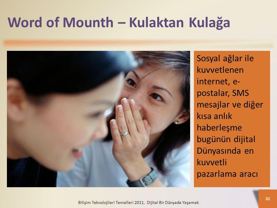 Word of Mounth – Kulaktan Kulağa Bilişim Teknolojileri Temelleri 2011, Dijital Bir Dünyada Yaşamak 32 Sosyal ağlar ile kuvvetlenen internet, e- postalar, SMS mesajlar ve diğer kısa anlık haberleşme bugünün dijital Dünyasında en kuvvetli pazarlama aracı