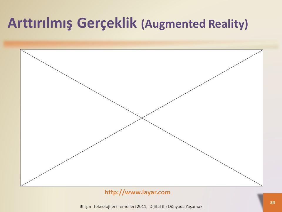 Arttırılmış Gerçeklik (Augmented Reality) Bilişim Teknolojileri Temelleri 2011, Dijital Bir Dünyada Yaşamak 34 http://www.layar.com