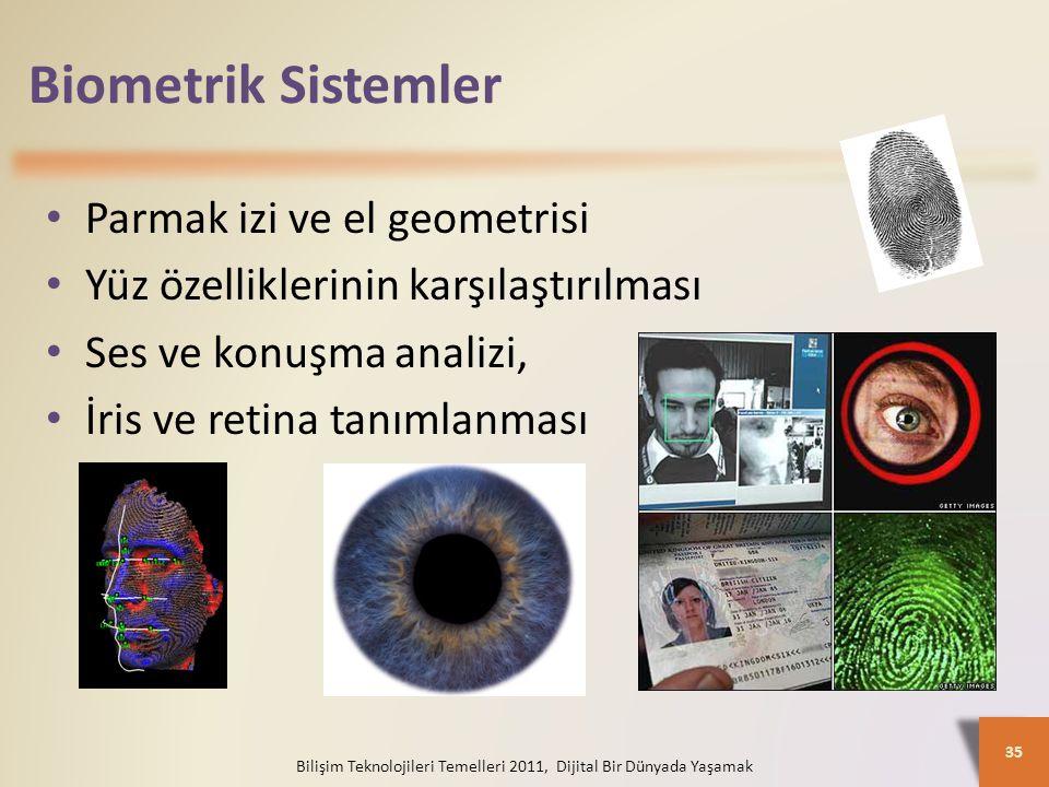 Biometrik Sistemler Bilişim Teknolojileri Temelleri 2011, Dijital Bir Dünyada Yaşamak 35 Parmak izi ve el geometrisi Yüz özelliklerinin karşılaştırılması Ses ve konuşma analizi, İris ve retina tanımlanması