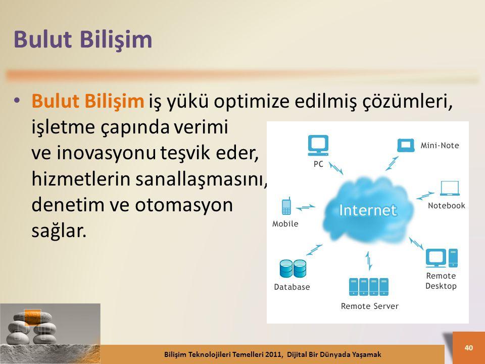 Bulut Bilişim Bulut Bilişim iş yükü optimize edilmiş çözümleri, işletme çapında verimi ve inovasyonu teşvik eder, hizmetlerin sanallaşmasını, denetim ve otomasyon sağlar.