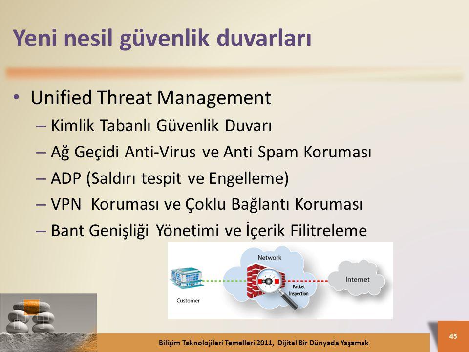 Yeni nesil güvenlik duvarları Unified Threat Management – Kimlik Tabanlı Güvenlik Duvarı – Ağ Geçidi Anti-Virus ve Anti Spam Koruması – ADP (Saldırı tespit ve Engelleme) – VPN Koruması ve Çoklu Bağlantı Koruması – Bant Genişliği Yönetimi ve İçerik Filitreleme Bilişim Teknolojileri Temelleri 2011, Dijital Bir Dünyada Yaşamak 45