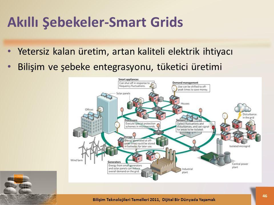 Akıllı Şebekeler-Smart Grids Yetersiz kalan üretim, artan kaliteli elektrik ihtiyacı Bilişim ve şebeke entegrasyonu, tüketici üretimi Bilişim Teknolojileri Temelleri 2011, Dijital Bir Dünyada Yaşamak 46