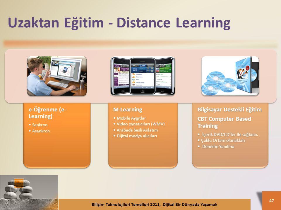 Uzaktan Eğitim - Distance Learning e-Öğrenme (e- Learning) Senkron Asenkron M-Learning Mobile Aygıtlar Video oynatıcıları (WMV) Arabada Sesli Anlatım Dijital medya alıcıları Bilgisayar Destekli Eğitim CBT Computer Based Training İçerik DVD/CD'ler ile sağlanır.