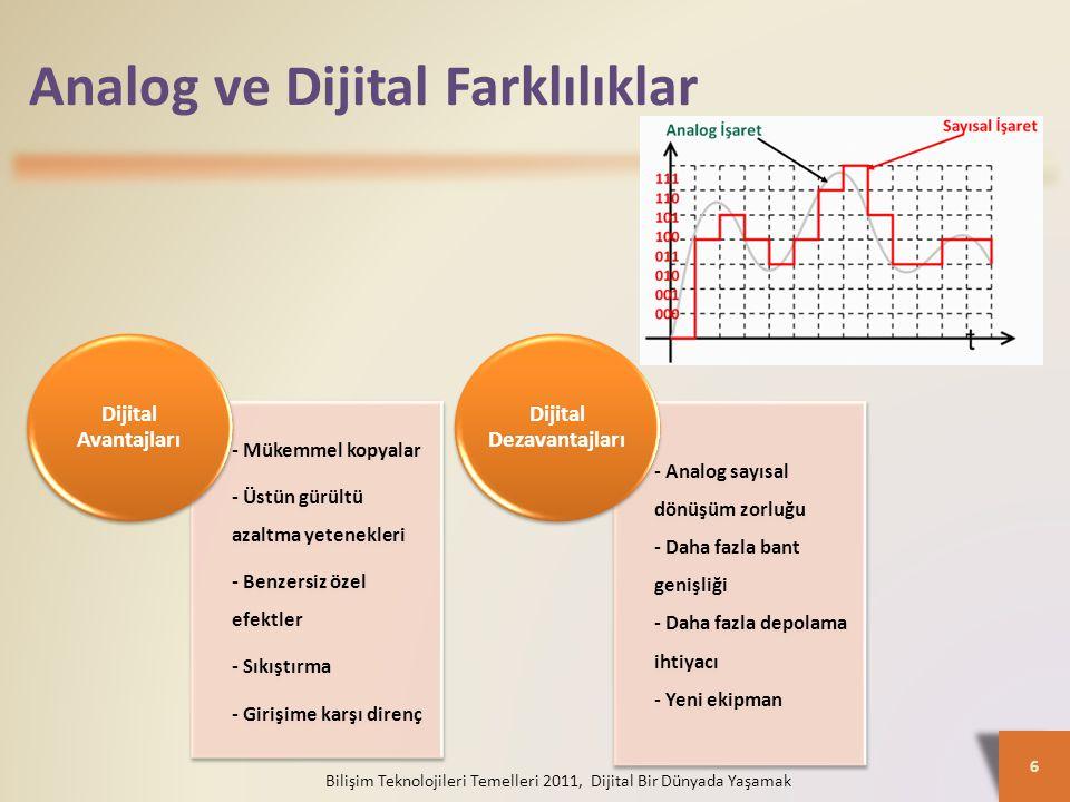 Analog ve Dijital Farklılıklar - Mükemmel kopyalar - Üstün gürültü azaltma yetenekleri - Benzersiz özel efektler - Sıkıştırma - Girişime karşı direnç Dijital Avantajları - Analog sayısal dönüşüm zorluğu - Daha fazla bant genişliği - Daha fazla depolama ihtiyacı - Yeni ekipman Dijital Dezavantajları 6 Bilişim Teknolojileri Temelleri 2011, Dijital Bir Dünyada Yaşamak