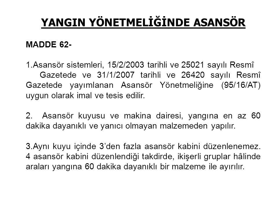 YANGIN YÖNETMELİĞİNDE ASANSÖR MADDE 62- 1.Asansör sistemleri, 15/2/2003 tarihli ve 25021 sayılı Resmî Gazetede ve 31/1/2007 tarihli ve 26420 sayılı Re