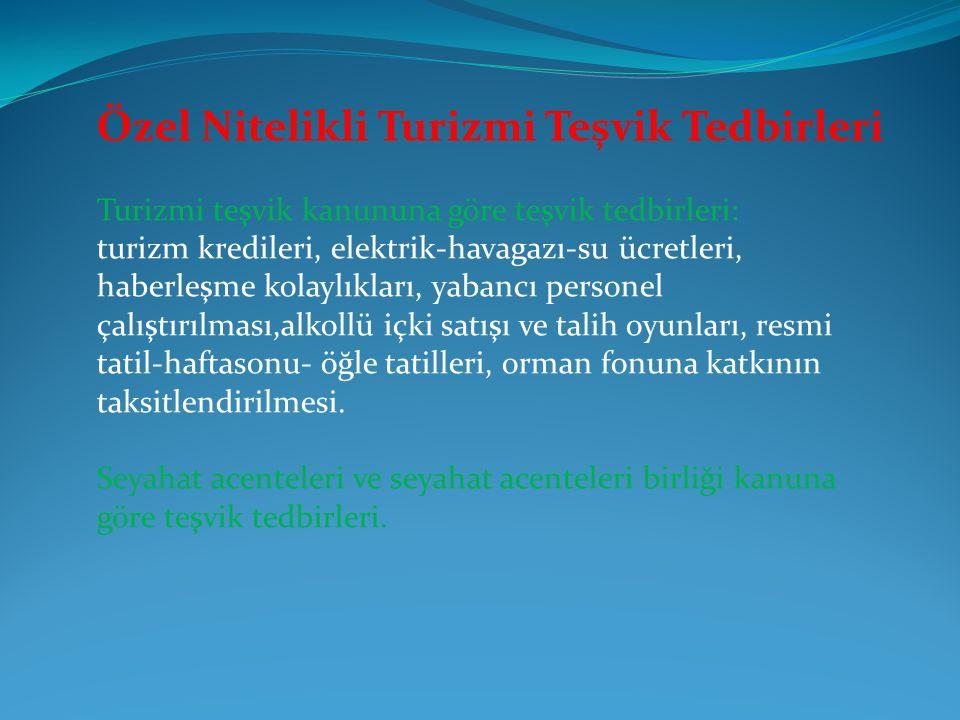 Özel Nitelikli Turizmi Teşvik Tedbirleri Turizmi teşvik kanununa göre teşvik tedbirleri: turizm kredileri, elektrik-havagazı-su ücretleri, haberleşme