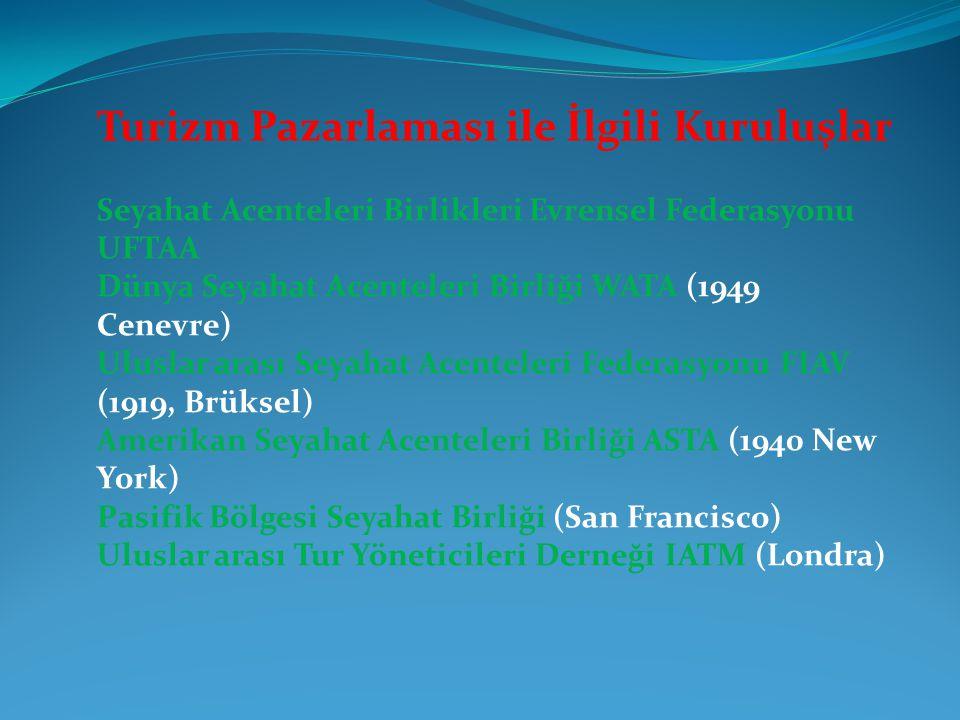 Turizm Pazarlaması ile İlgili Kuruluşlar Seyahat Acenteleri Birlikleri Evrensel Federasyonu UFTAA Dünya Seyahat Acenteleri Birliği WATA (1949 Cenevre)