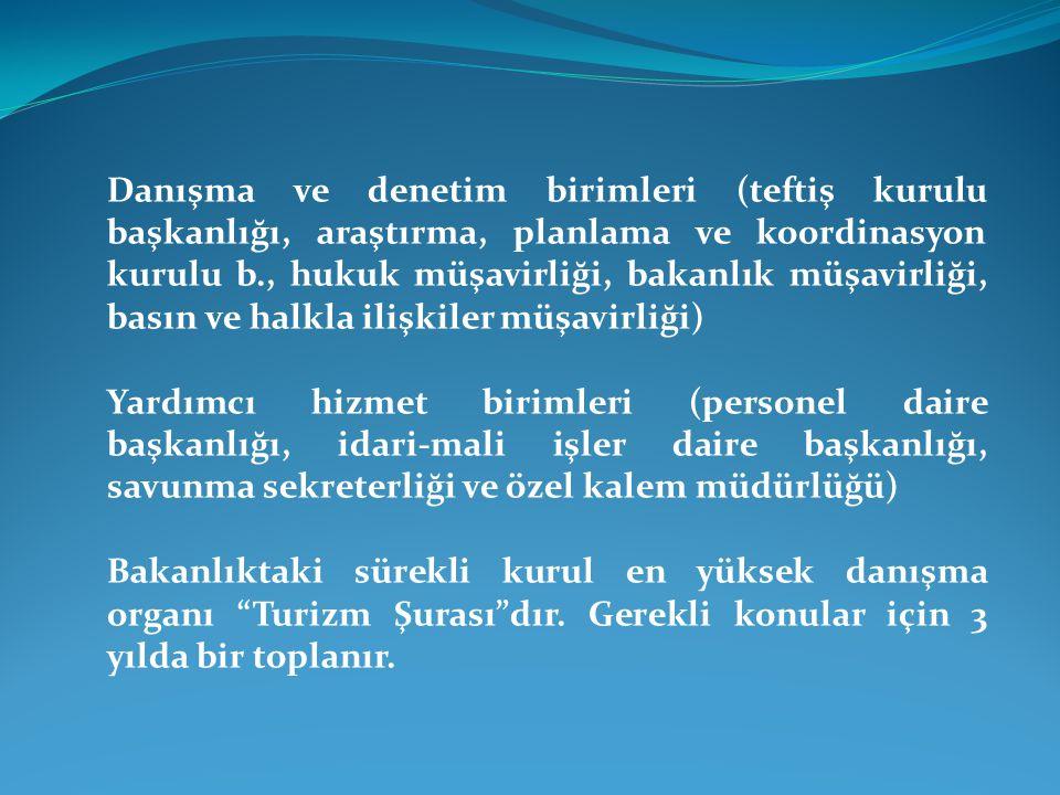Danışma ve denetim birimleri (teftiş kurulu başkanlığı, araştırma, planlama ve koordinasyon kurulu b., hukuk müşavirliği, bakanlık müşavirliği, basın