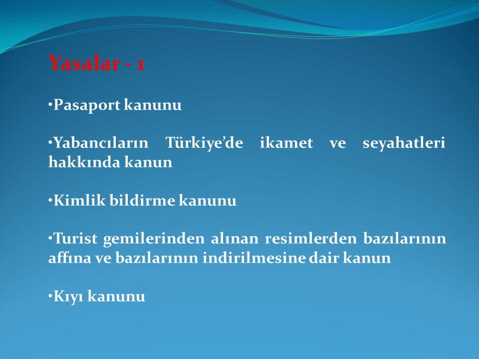 Yasalar - 1 Pasaport kanunu Yabancıların Türkiye'de ikamet ve seyahatleri hakkında kanun Kimlik bildirme kanunu Turist gemilerinden alınan resimlerden