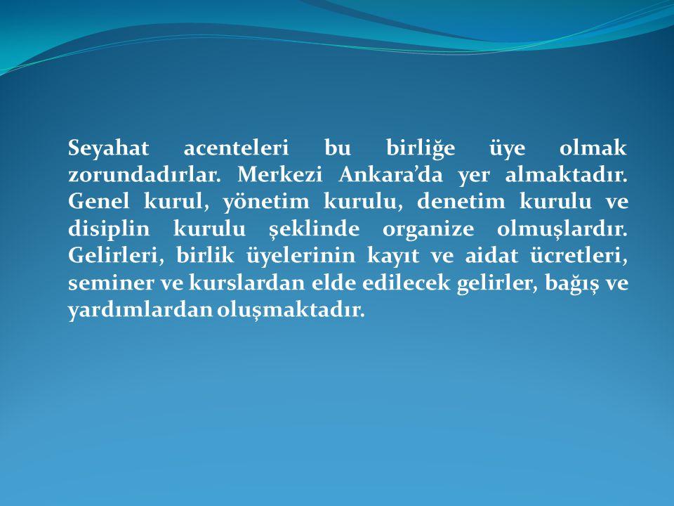 Seyahat acenteleri bu birliğe üye olmak zorundadırlar. Merkezi Ankara'da yer almaktadır. Genel kurul, yönetim kurulu, denetim kurulu ve disiplin kurul
